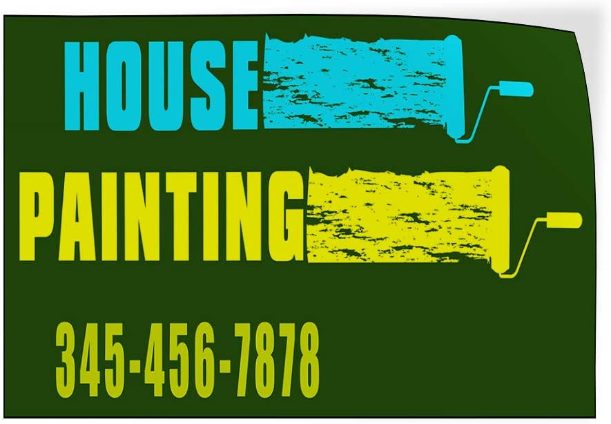 Custom Door Decals Vinyl Stickers Multiple Sizes House Painting Phone Number Business House Painting Outdoor Luggage /& Bumper Stickers for Cars Green 24X16Inches Set of 10
