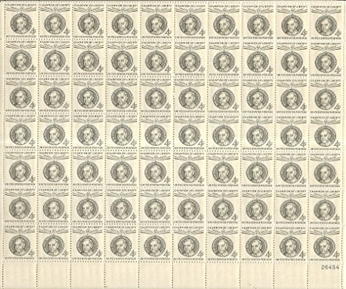 Champions Of Liberty Ernst Reuter Complete Sheet Of 70 Four Cent Stamps Scott 1136