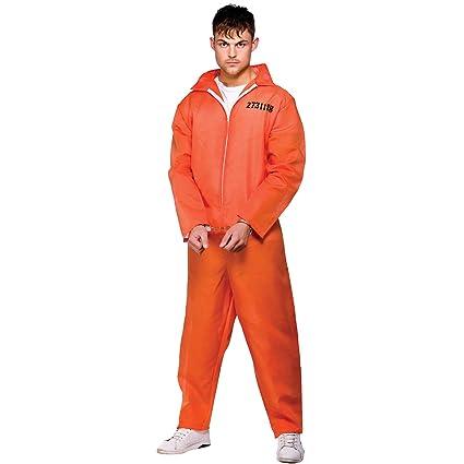Disfraz de convicto, para hombre, color naranja