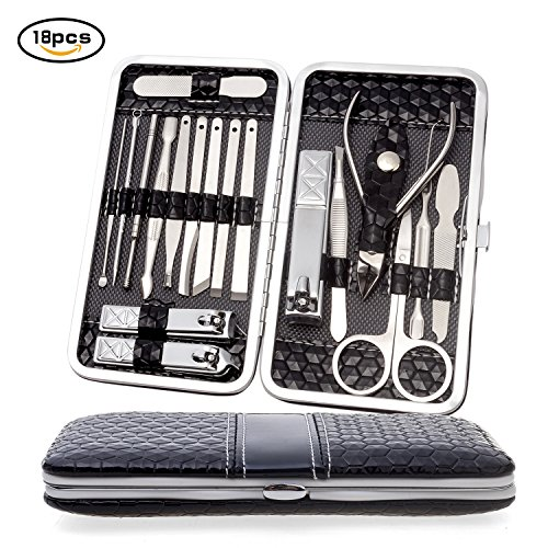 Manicure Pedicure Set, WLWQ 18 in 1 Stainless Steel Hygiene Pedicure Kit Nail Care Grooming Accessories Beauty Cosmetic Tools with Black Leather Travel Case (Black)