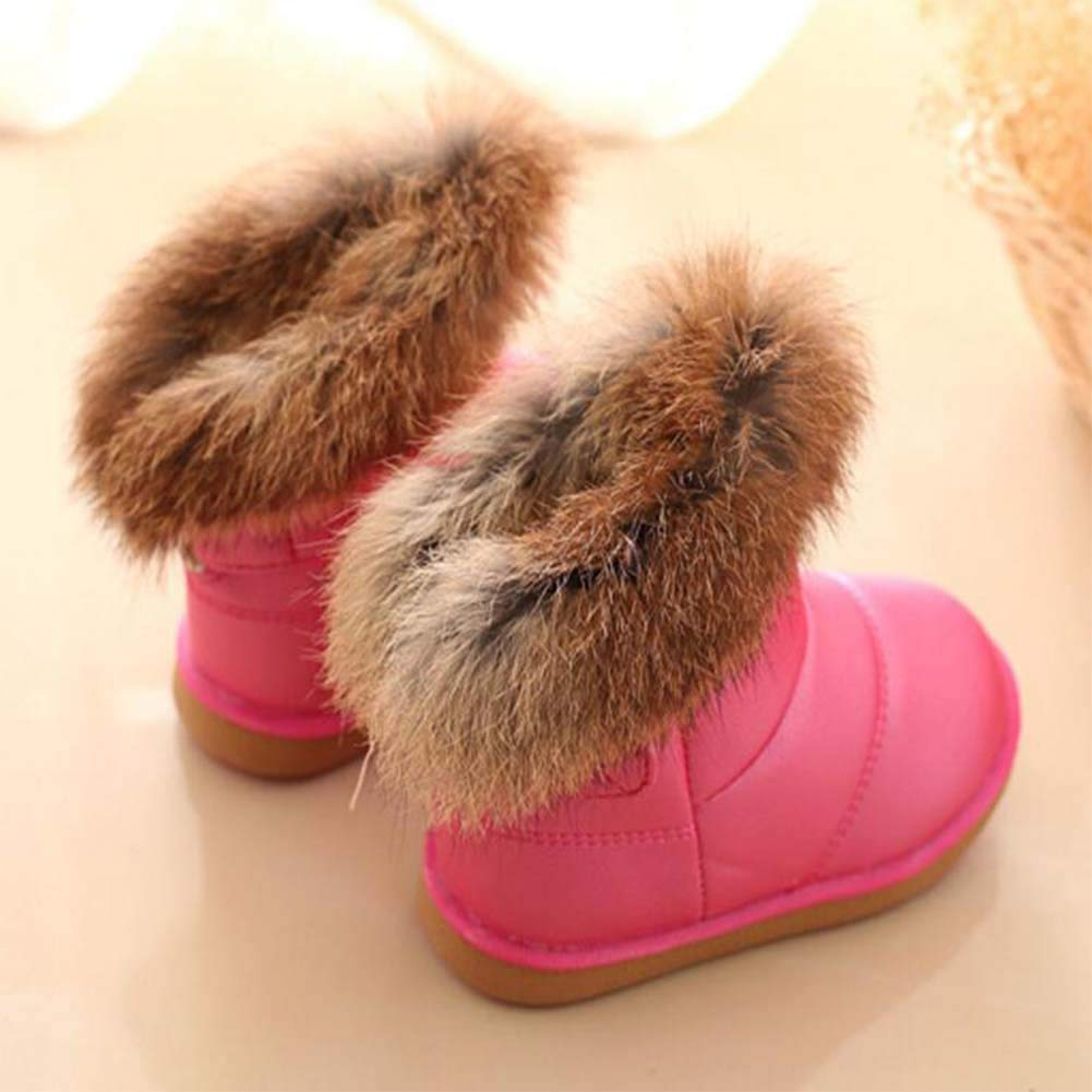 Uirend Girls Pink Boots Warm Winter Non Slip Fashion Casual Sole Fur Snow Boot