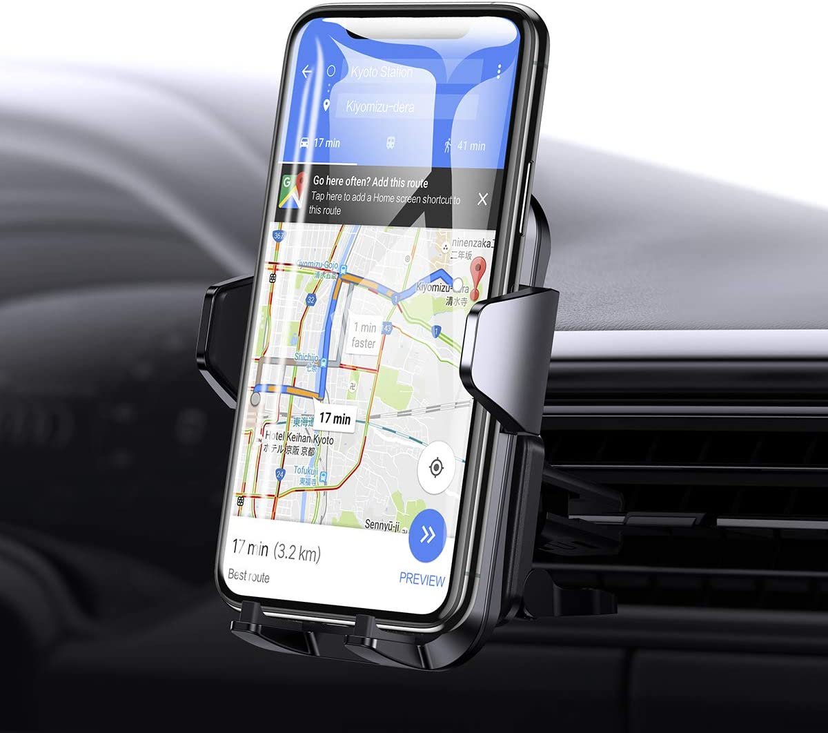 Universal Cell Phone Holder for Car, Joyroom?2020 Upgrade? Real Stable Car Phone Mount Holder, 360 Adjustable Phone Mount Fit for iPhone SE 11 X XS XR 8 Plus 7 and More.