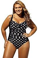 Aleumdr Womens Black White Polka Dot One Piece Swimsuit Plus Size XL - XXXXL