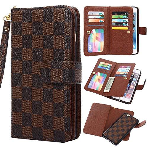 iPhone 7 Hülle - VENTER® Luxus Deluxe Design-Business-Stil Klassisches Plaid überprüfen Ultra große Kapazität abnehmbares Armband-Handgelenk-Bügel-Leder-Schlag-Geldbeutel -Hülle-Abdeckung mit ID-Halte