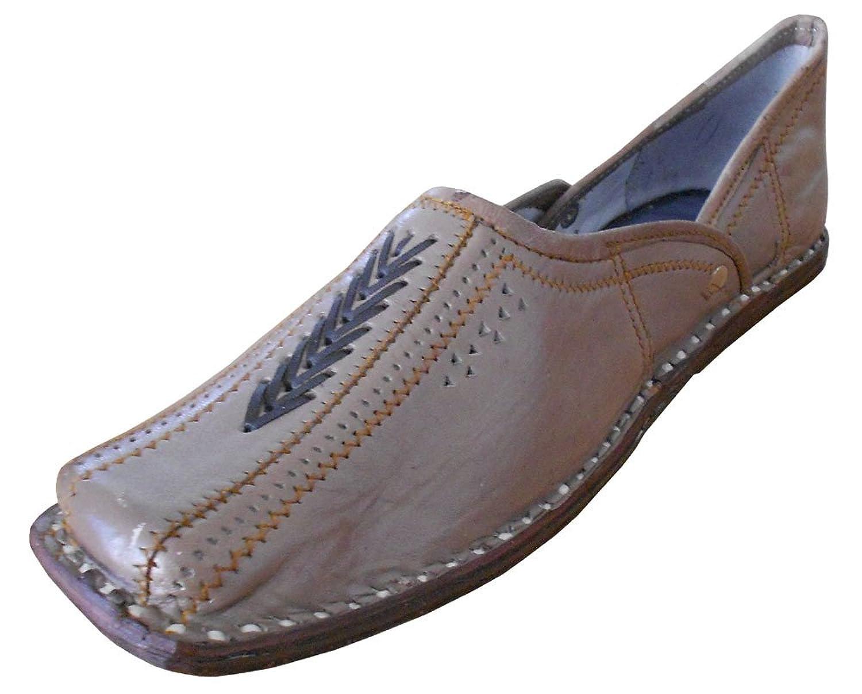 kalra Creations Hombre tradicional hecho a mano indio étnico–Zapatos de piel, color Gris, talla 42.5 EU