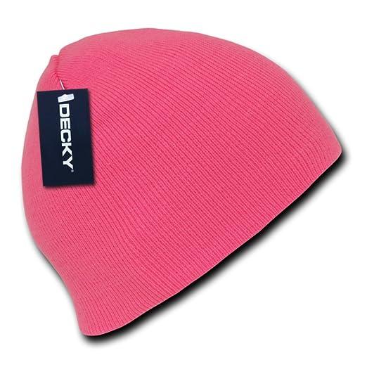 ffcefa5fe48 Amazon.com  Neon Hazard Bright Hot Pink Knit Beanie Stocking Cap ...