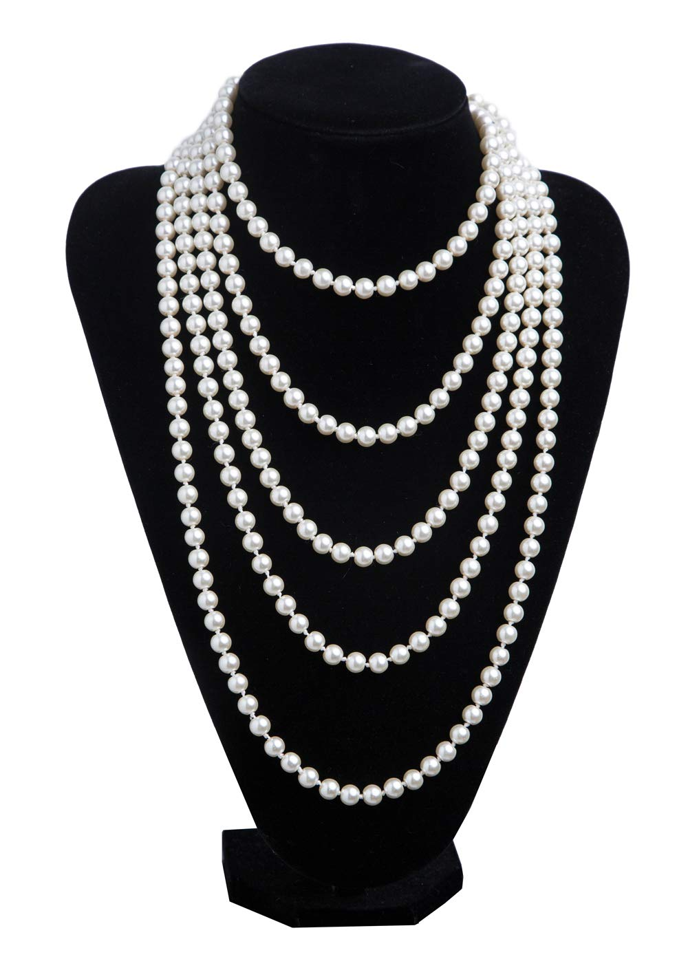 1920s Pearls Necklace Gatsby Accessories Vintage Costume Jewelry Faux Ivory Pearl Cream Long Necklace for Women (A-White-1)