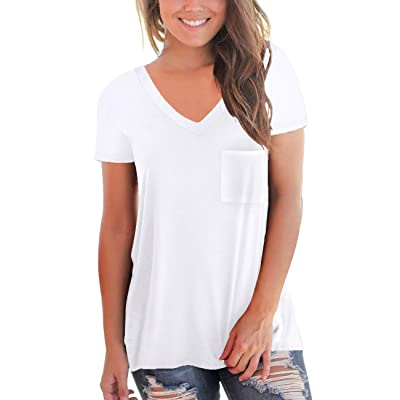 NSQTBA Womens Short Sleeve V Neck T Shirts Loose Casual Summer Tops Tees with Pocket: Clothing