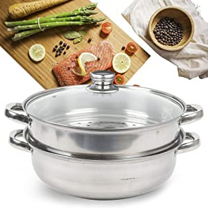 Food Steamer 2-Tier Stainless Steel Steamer Double Layer 10.83 inch Diameter Stackable Steamer and Flat Boil Pot Set-1 Cooking Pot, 1 Steamer Insert and Vented Glass Lid