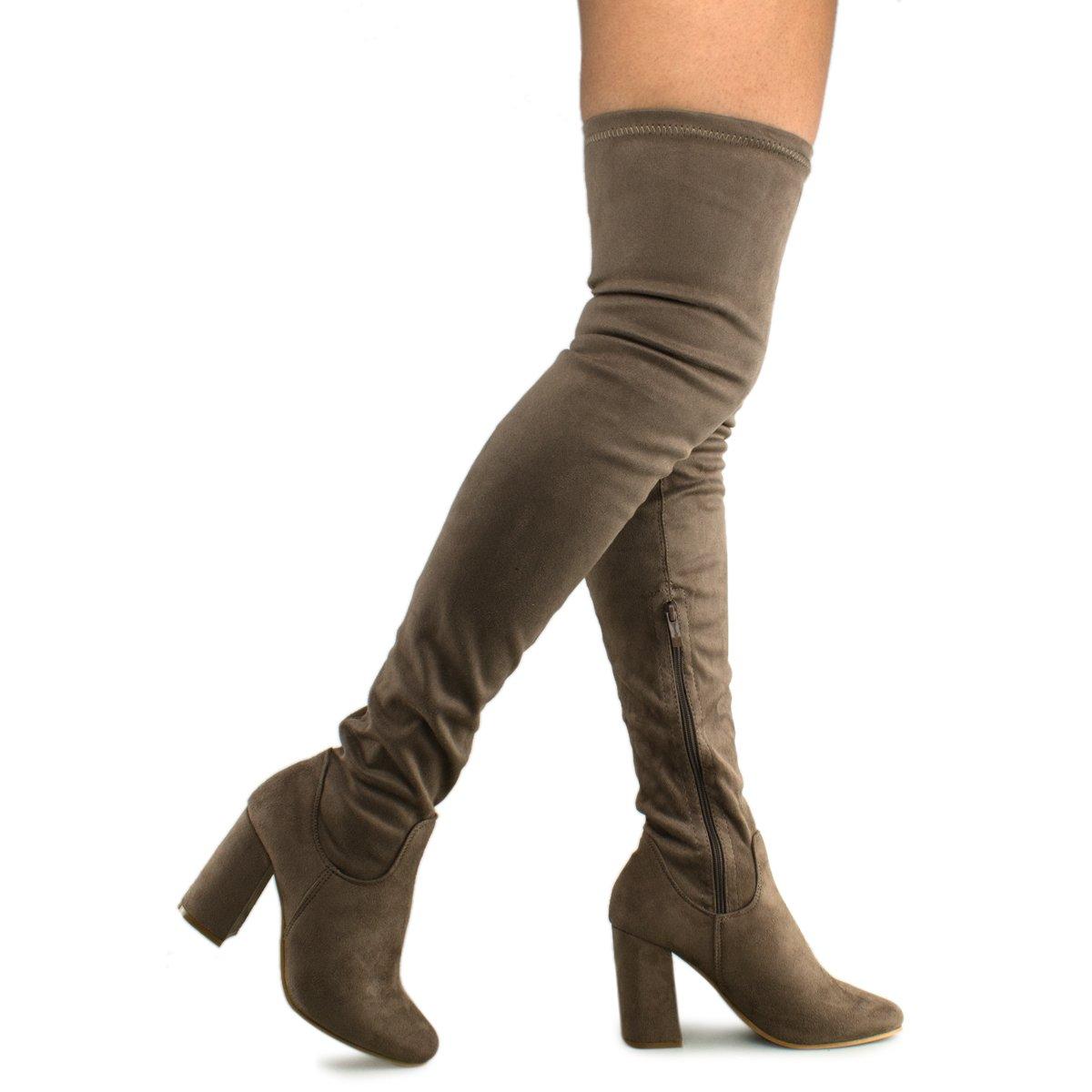 Premier Standard - Women Fashion Comfy Vegan Suede Block Heel Slip On Thigh High Over The Knee Boots, TPS Elantra-01 v2 Taupe Size 8.5