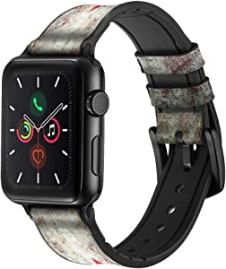 CA0344 Canada Maple Leaf Flag Texture Leather & Silicone Smart Watch Band Strap for Apple Watch iWatch Size 42mm/44mm