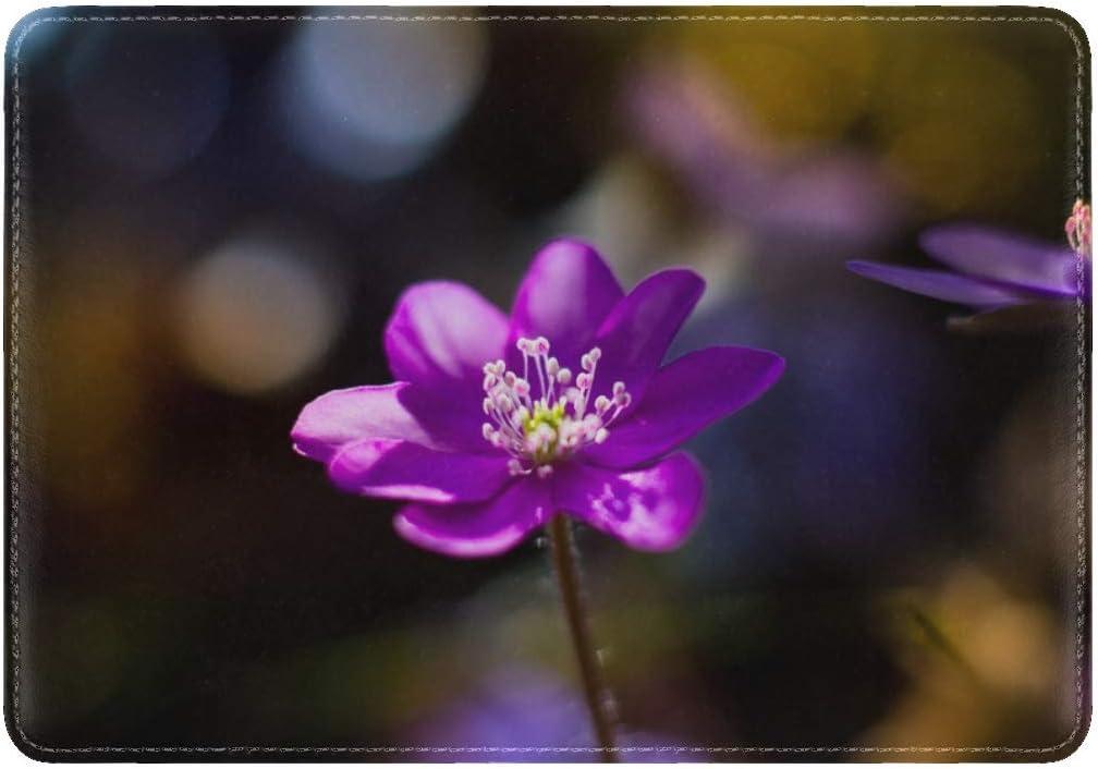 JiaoL Flower Purple Macro Leather Passport Holder Cover Case Travel One Pocket