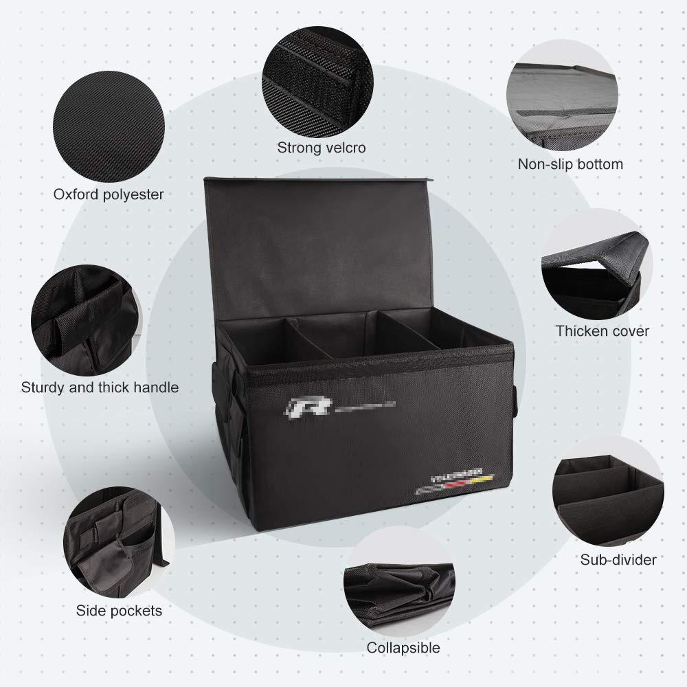 AUTOPRE MODIFY Organizador Maletero Coche Negro Carro Tronco Organizador con Bolsillos Laterales Compartimentos M/últiples Organizador Coche Impermeable