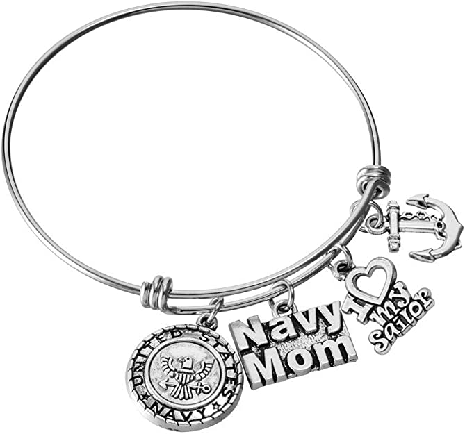 Proud Marine Sister  Marine inspired Stainless Steel Silver Plated Bangle Charm Bracelet I love My MARINE Military Jewelry