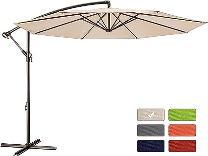 patio umbrella 10 ft cantilever offset umbrella outdoor market hanging umbrellas garden umbrella crank with cross base 8 ribs 10 ft beige