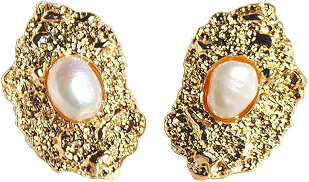 Pendientes Vintage Pliegue Textura de Lava Forma Irregular Conjunto de Perla Aleación Chapado en Oro Elegante Pendientes de Moda Mujeres Joyería Regalos