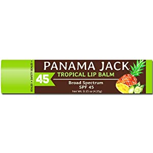 Panama Jack Lip Balm - SPF 45, Broad Spectrum UVA-UVB Sunscreen Protection, Prevents & Soothes Dry, Chapped Lips (Pack of 2, Tropical)