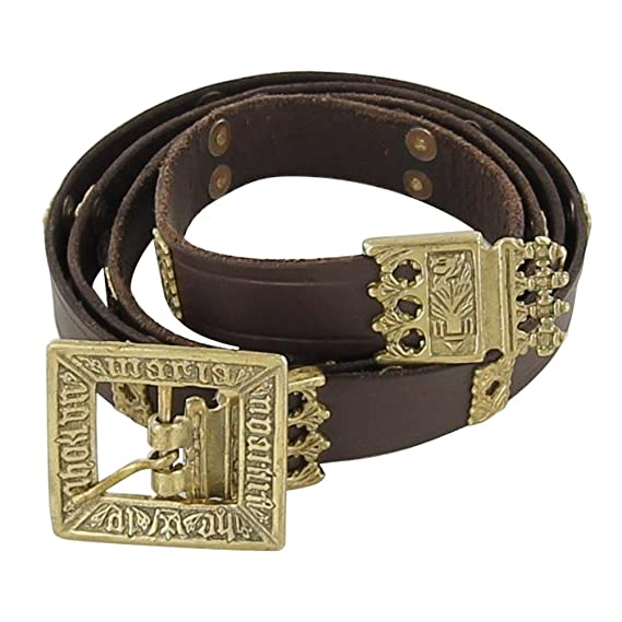 Deluxe Adult Costumes - Men's quatrefoil Medieval aristocrat handmade leather belt by Armory Replicas