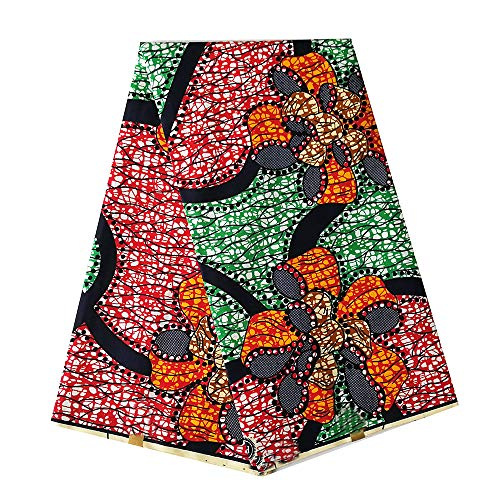 pqdaysun African Super Wax Print Fabric Ankara Fabric Wax Material 6 Yards for Sewing Dress Clothing wax003-red Green (red Green)