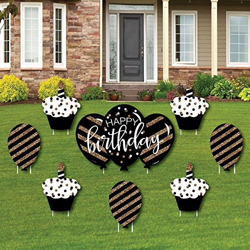 Big Dot of Happiness Adult Happy Birthday - Gold - Cupcake & Balloon Yard Sign & Outdoor Lawn Decorations - Birthday Yard Signs - Set of 8 by Big Dot of Happiness