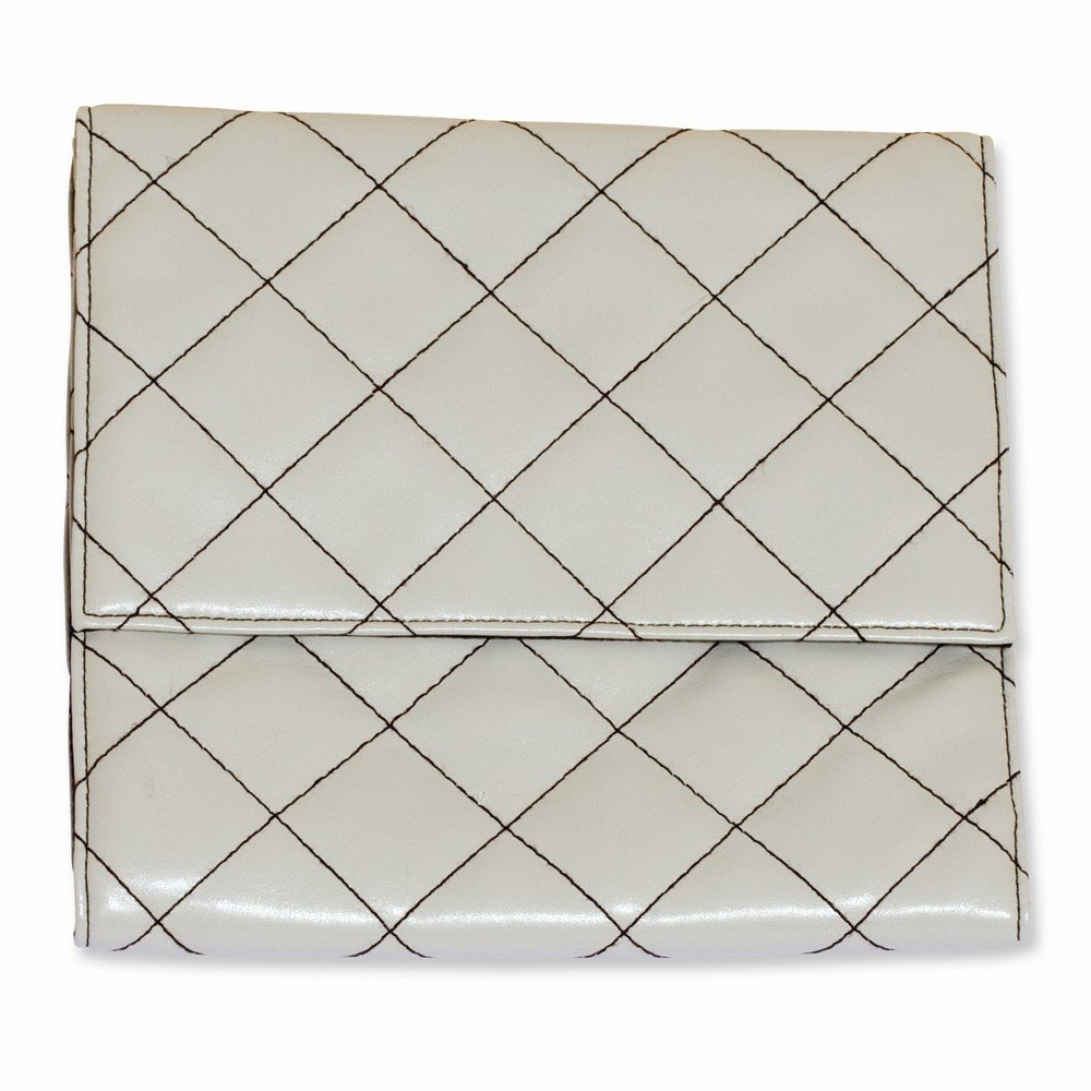 Chic 8x8 Ivory with Brown Stitched Quilted Travel Bag
