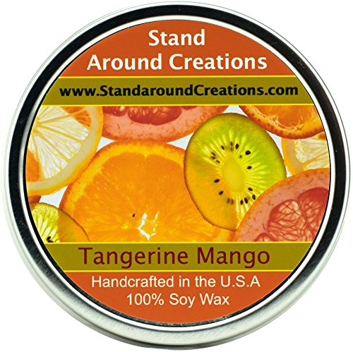 Premium 100% All Natural Soy Wax Aromatherapy Candle - 16 oz Tin Tangerine Mango: An exotic fusion of fresh mango and ripe tangerine. Subtle tropical notes of papaya, peach and creamy coconut. This fragrance is infused with natural orange and coriander essential oils.
