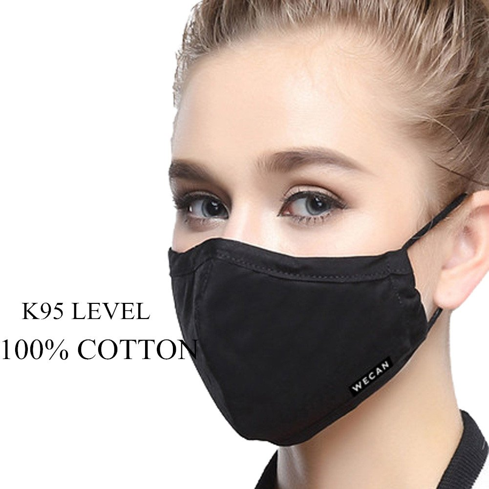 ZWZCYZ N95 Mask Dust Mask Anti Pollution Mask PM2.5 4 Layer Activated Carbon Filter Insert Can Be Washed Reusable Pollen Masks Cotton Mouth Mask for Men Women (Medium(Women's), Black)