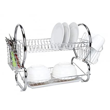 Amazon Com Home Basics 2 Tier Dish Drainer Chrome Dish Racks