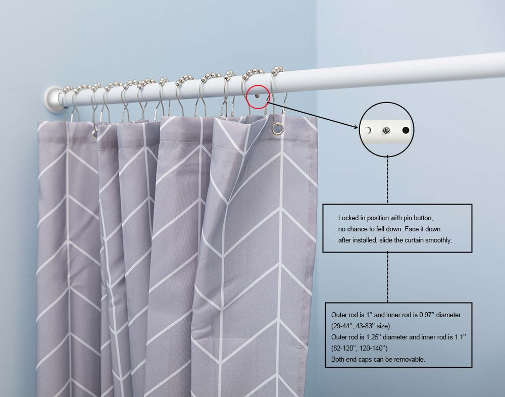 Amazon ALLZONE Heavy Duty Tension Shower Curtain Rod 28 41 Inches No Drilling Never Bend Collapse Rust Free Home Kitchen