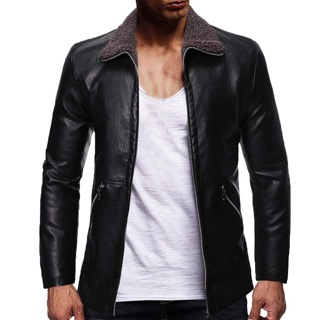 Allywit-Mens Zipper PU Leather Jacket Artificial Fur Collar Casual Long Sleeve Coat Tops Big and Tall Black