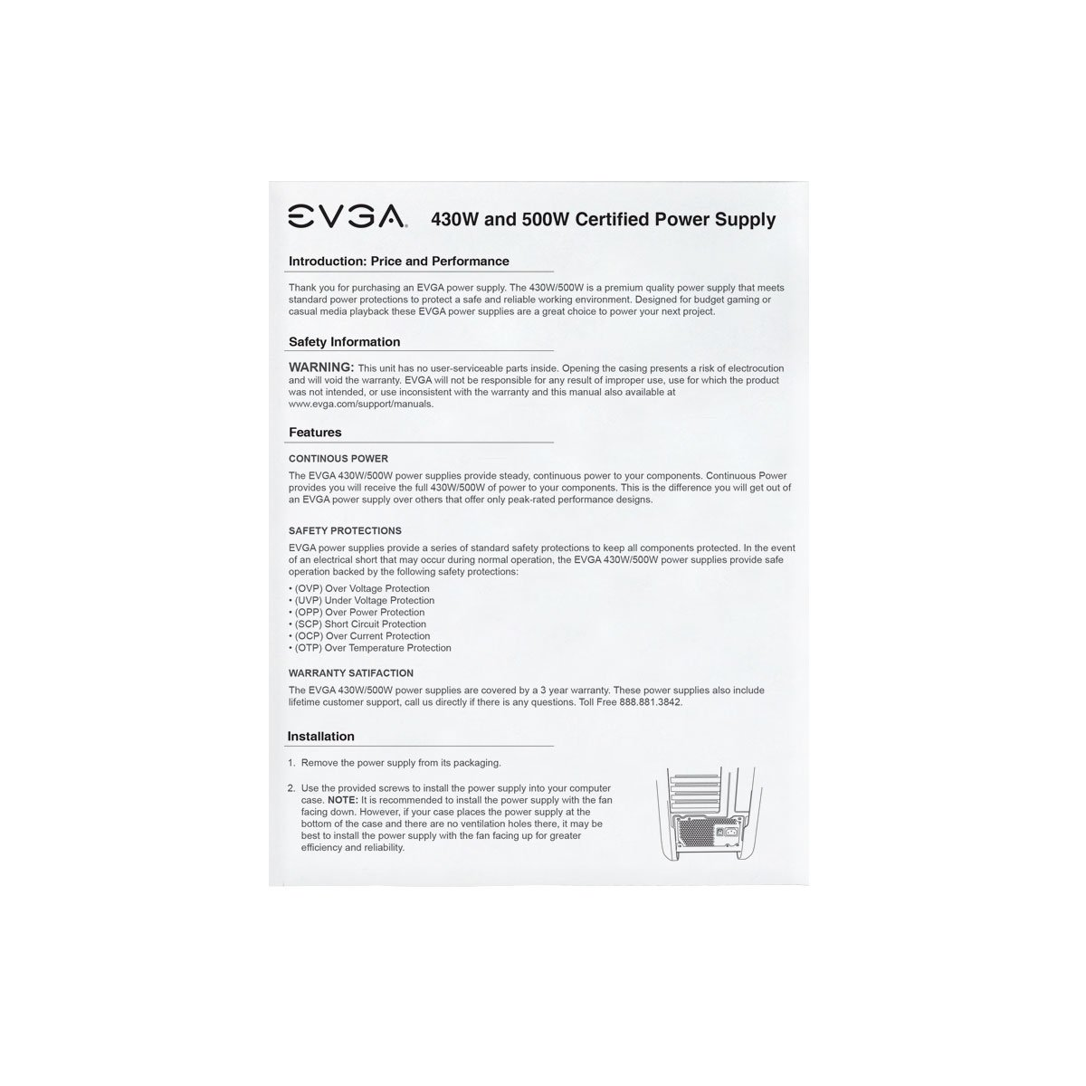 Evga 500 W1 80 White 500w 3 Year Warranty Power Installed Supply Circuit Board Showing Components 100 0500 Kr Black Computers Accessories