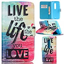 Motorola Moto X Play Case, Moto X Play Case,Gift_Source [Live the life you love]Luxury Wallet PU Leather Case Flip Cover Built-in Card Slots Flip case Pattern For Motorola X Play