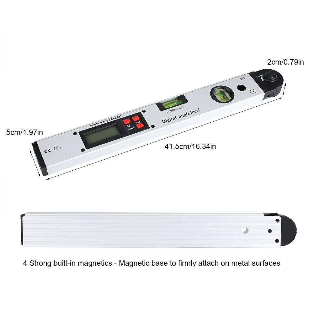 rango de 360 /° Inclin/ómetro digital Nivel Indicador de /ángulo Buscador vertical Nivel de burbuja digital