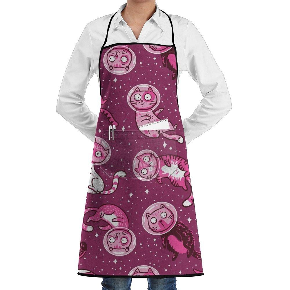 huadduoレッドGalaxy Catsユニセックスキッチン調節可能なネックよだれかけエプロンfor Cooking Bakingガーデニング   B07DXKBC5P