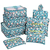 Travel Organizer,Mossio Durable Compression 3 Packing Cubes 3 Laundry Bag 1 Shoe Bag Blue Flower