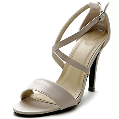 507a924b38e Ollio Women s Shoe High Heel Criss Cross Ankle Strap Sandal (10 B(M)