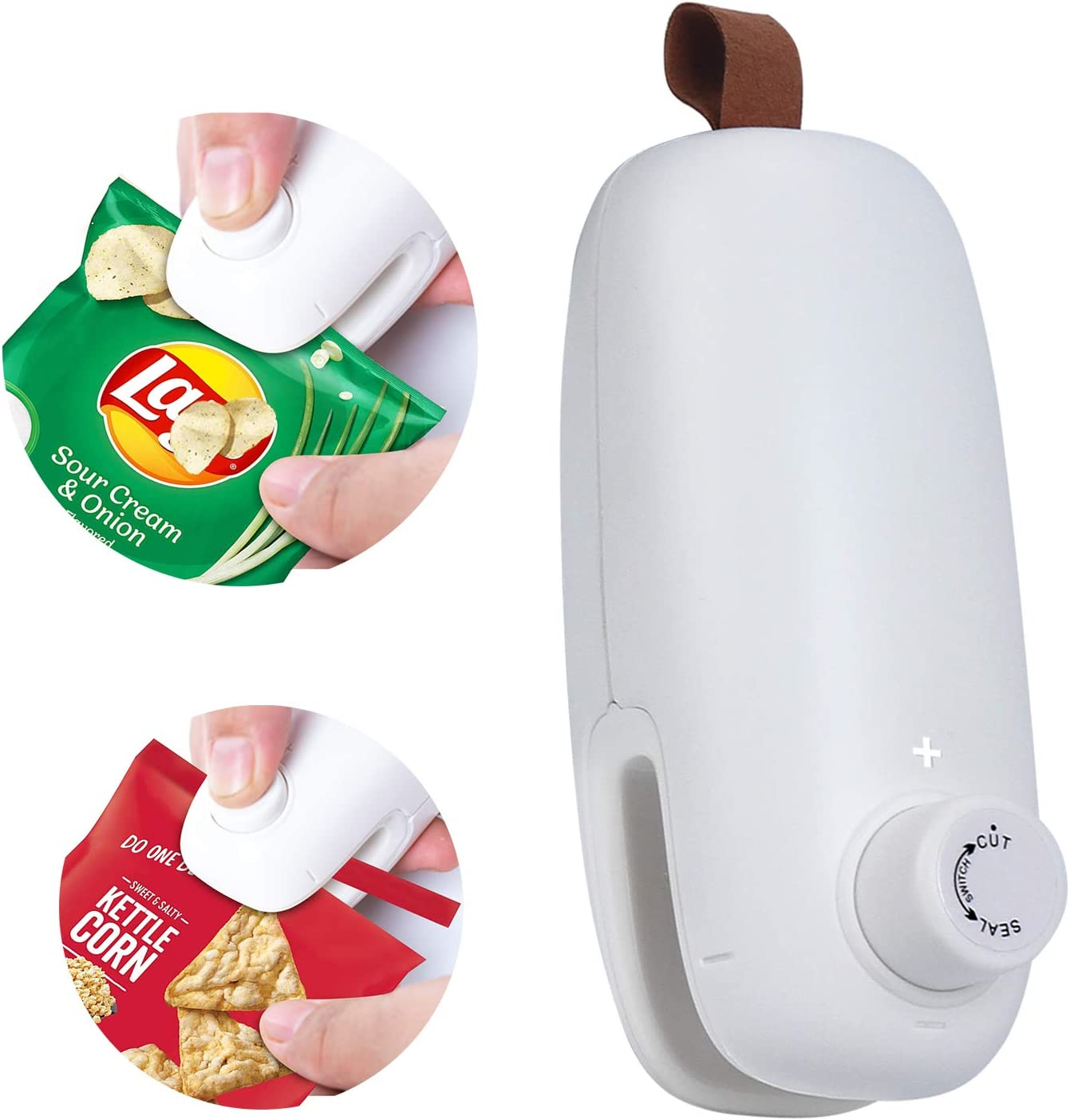 Chip Bag Sealer Heat Seal, 2 in 1 Mini Portable Sealer and Cutter Handheld Kitchen Sealing Machine for Plastic Bags Food Storage Bag (Battery Not included)