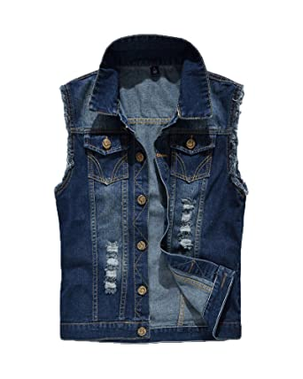 timeless design good selling utterly stylish Homme Classique Veste Denim Gilet sans Manches Revers en Jean Veste sans  Manche Veste De Blouson