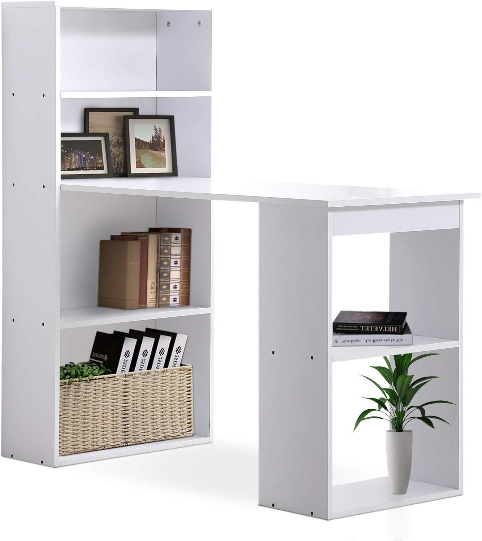 HOMCOM Mesa con Estantería Reversible Mesa de Ordenador para Hogar Oficina Escuela 120x55x120cm Blanco: Amazon.es: Juguetes y juegos