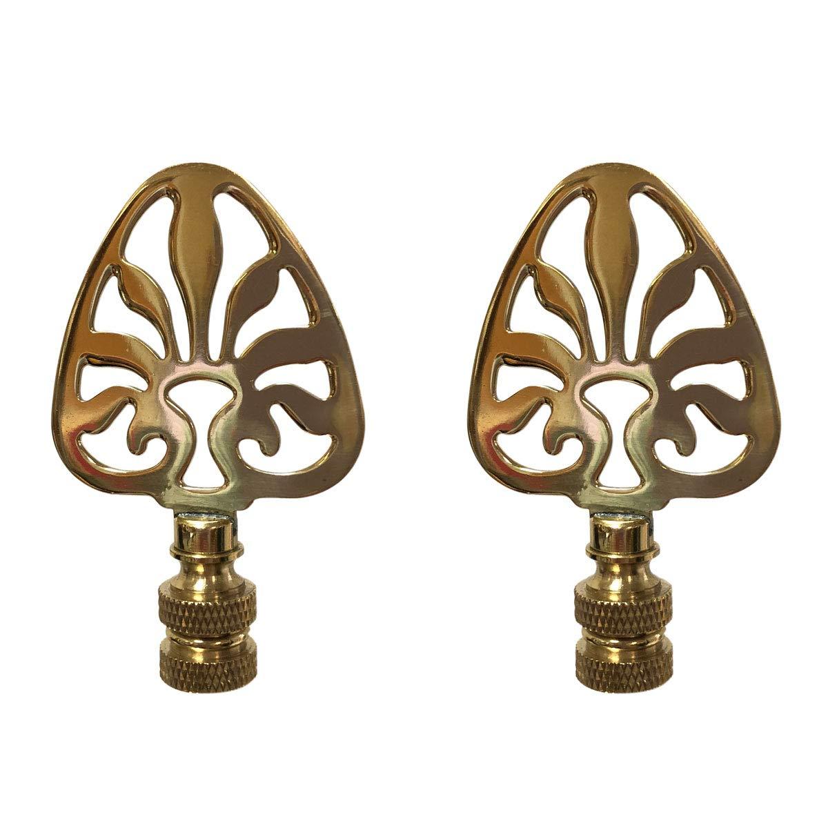 Royal Designs F-5063PB-2 Rising Sun Filigree Design Lamp Finial, Polished Brass, Set of 2