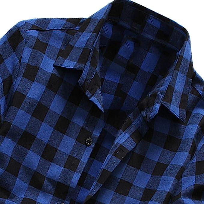 riou Camisa de Manga Corta para Hombre Cuello En V Camisetas Botón En Slim para Camisas Ocio Solapa Casual a Cuadros de Primavera y otoño para Hombres ...