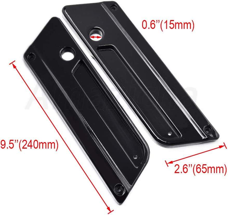 Amazicha Black Saddlebag Latch Covers with Reflectors Aluminum Compatible for Harley Davidson Touring Street Glide Electra Glide Road Glide Road King 1993-2013