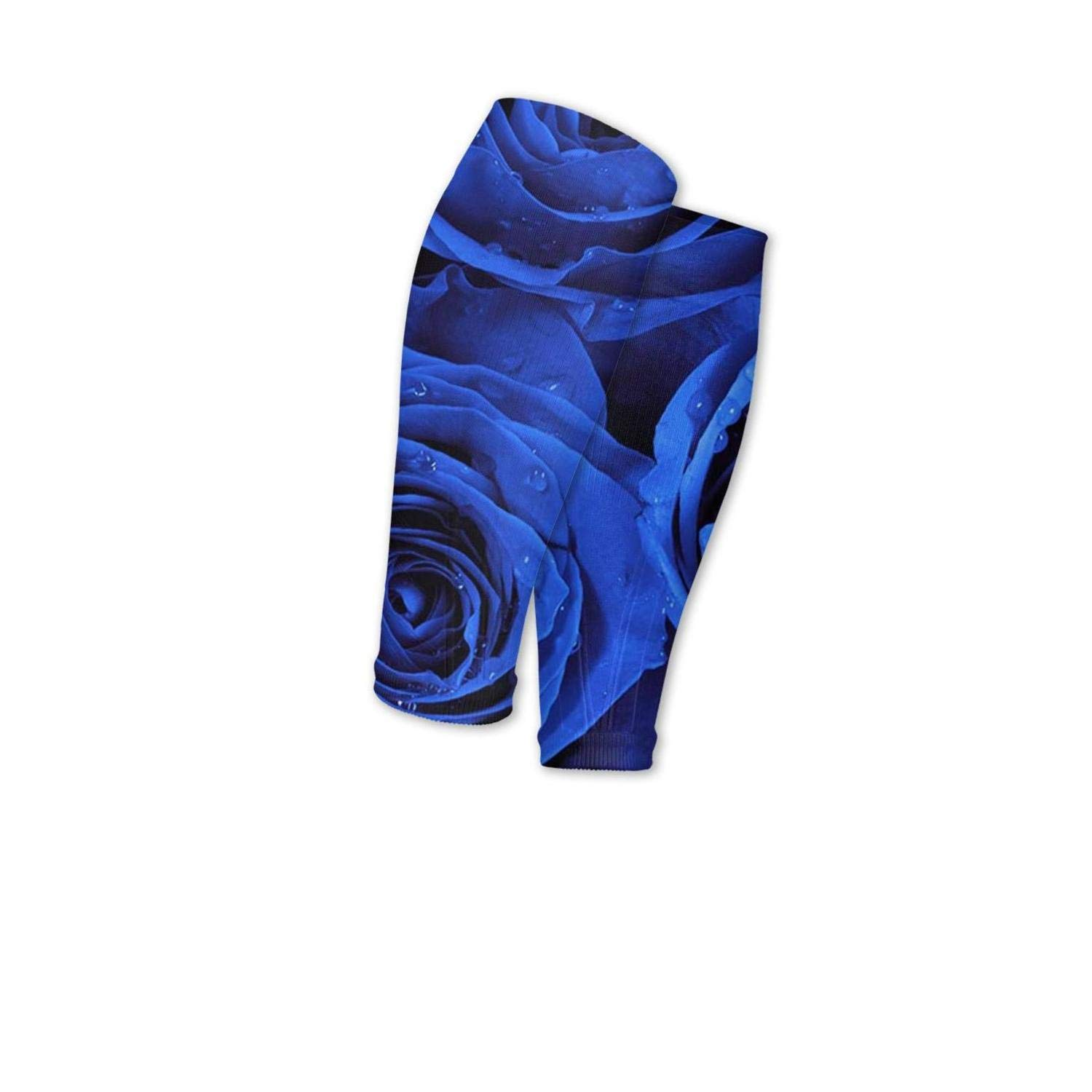 Smilelolly funny blue rose with water drop Calf Compression Sleeves Helps Calf Guard Leg Sleeves for Men Women