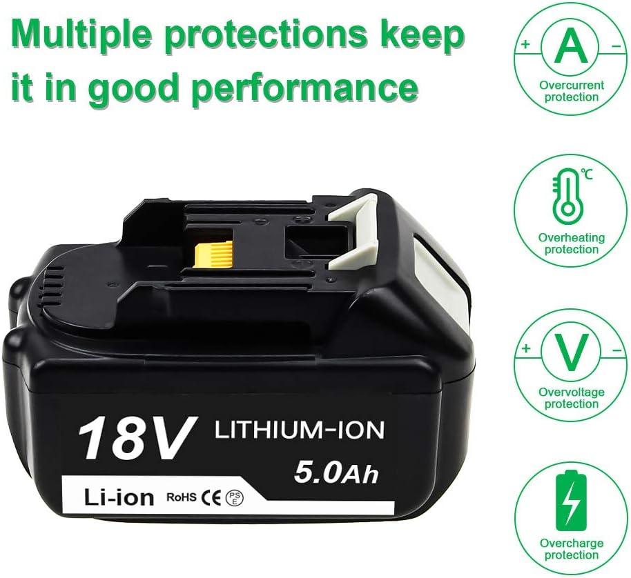Topbatt 2X 18V BL1850 5.0Ah pour Makita Batterie Lithium-ion de rechange BL1850B BL1850 BL1860 BL1860B BL1840 BL1830 BL1835 BL1845 BL1815 LXT-400