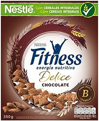 Cereales Nestlé Fitness Delice - Cereales de trigo, maíz y arroz tostados con cacao rellenos de crema con chocolate - 4 paquetes de cereales de 350 g: Amazon.es: Alimentación y bebidas