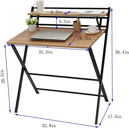 2-Style Folding Desk for Small Space, Home Corner Desks Simple Computer Desk with Shelf, Folding Laptop Table,No Assembly Required
