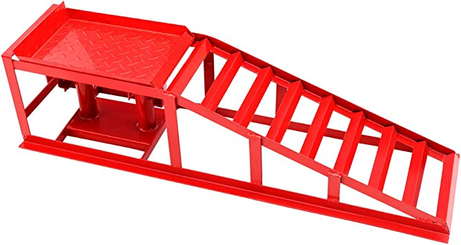 Pair Heavy Duty Metal Vehicle Van Ramps with Hydraulic Lifting Jack Height Adjustable for Tyre Width up to 255mm Red 1 GYMAX 2 Ton Car Ramp