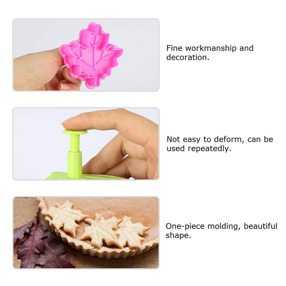 Fatalom 3D molde para galletas, hojas de pastel, molde de pasteles para hornear, cortador de galletas, color al azar, forma de hojas, molde de pasteles, ...