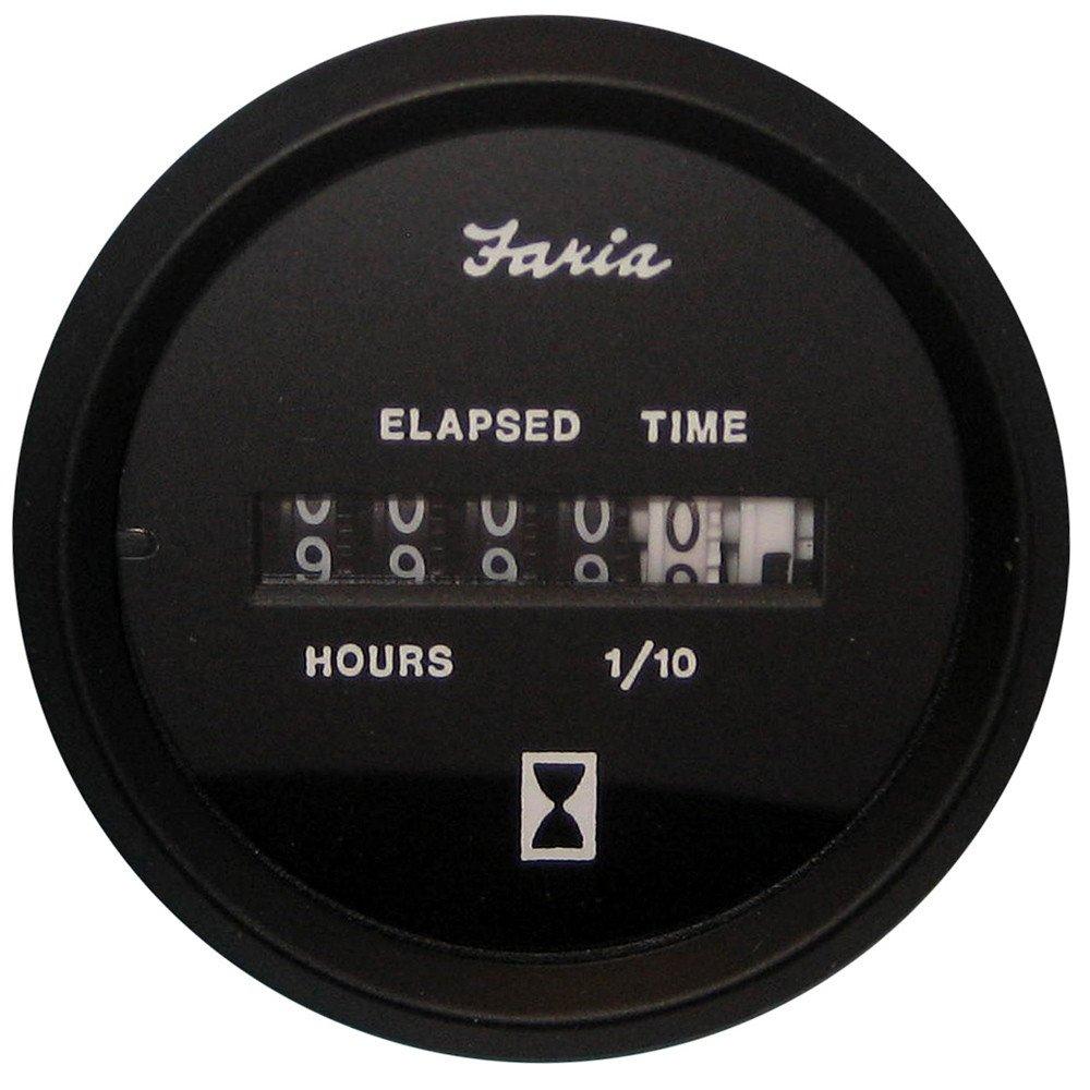 Faria Euro Black 2'' Hourmeter (10,000 Hrs) (12-32 VDC)
