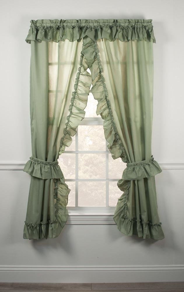 awesome Priscilla Curtains Kitchen Part - 14: Amazon.com: Stacey One Rod Criss Cross Ruffled Priscilla Window Curtain  with Tie Backs 54-Inch-by-84-Inch, White: Home u0026 Kitchen